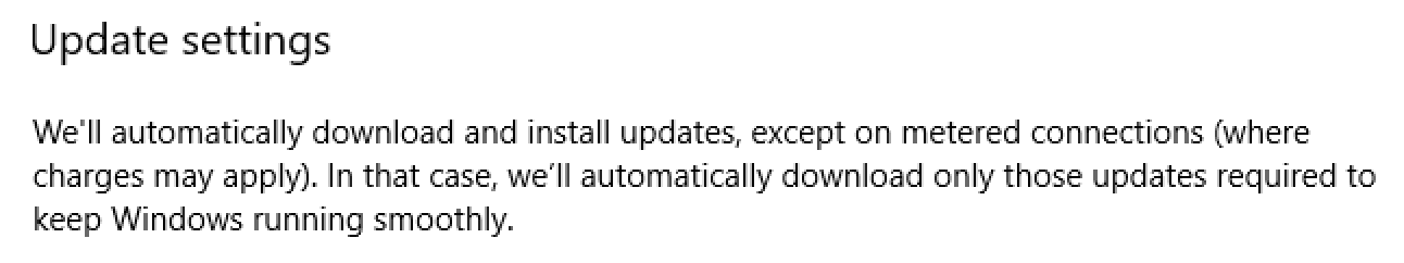 win10 update settings not on metered connection