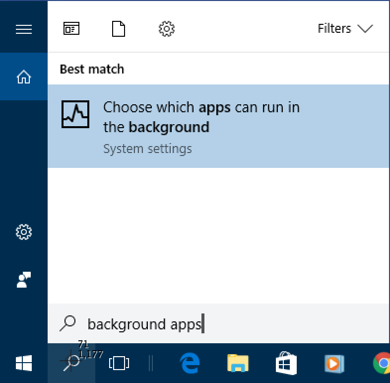 win10 search 'background app'