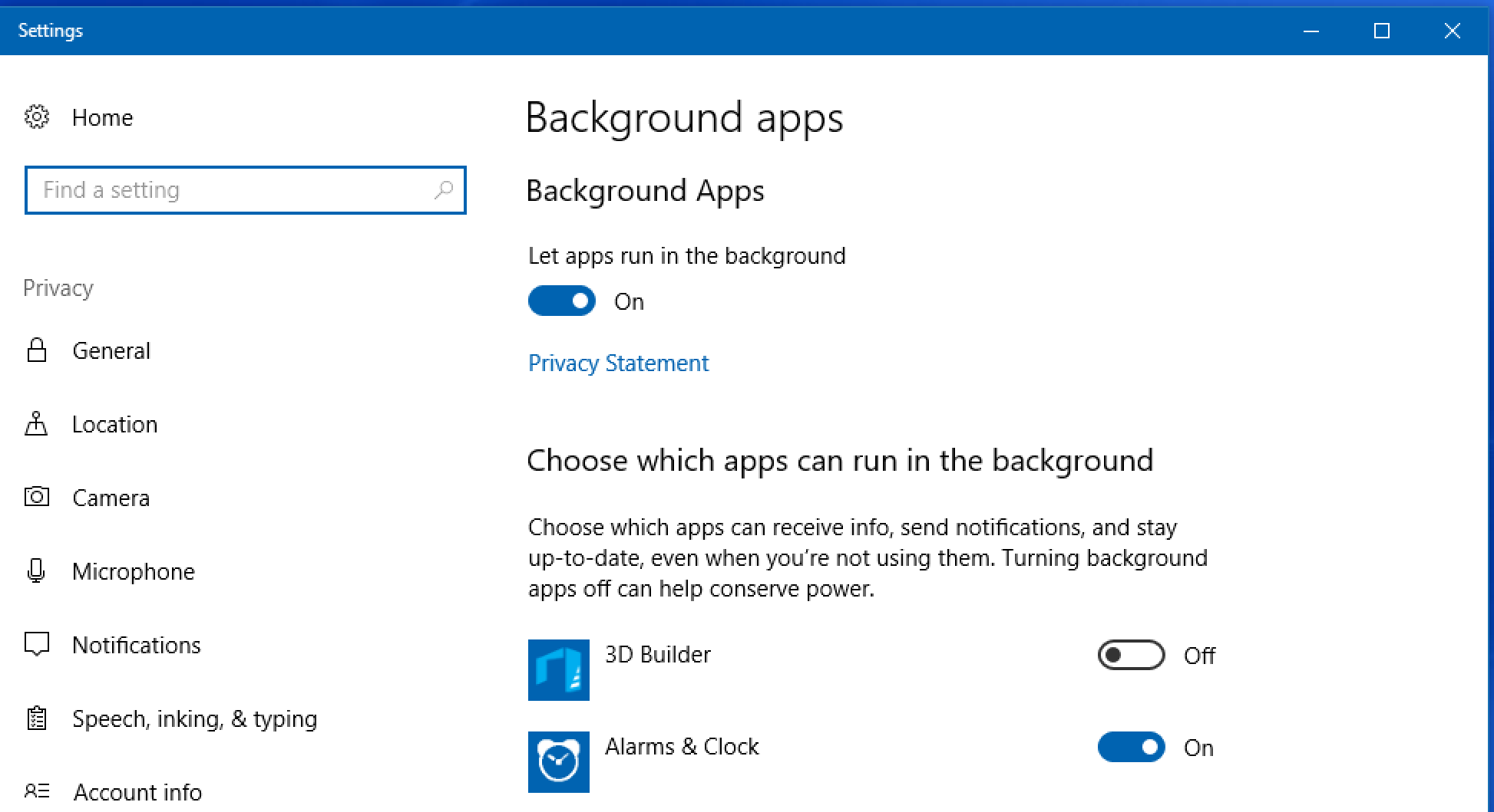 windows 10 background programs apps settings preferences control panel