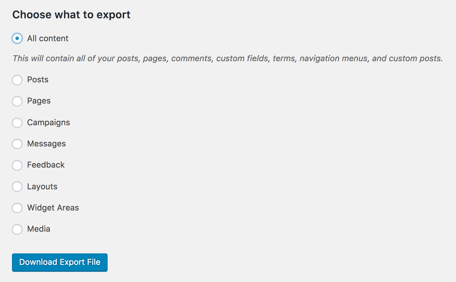 wordpress export options