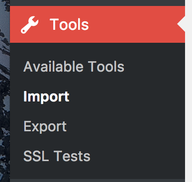 wordpress tools > import