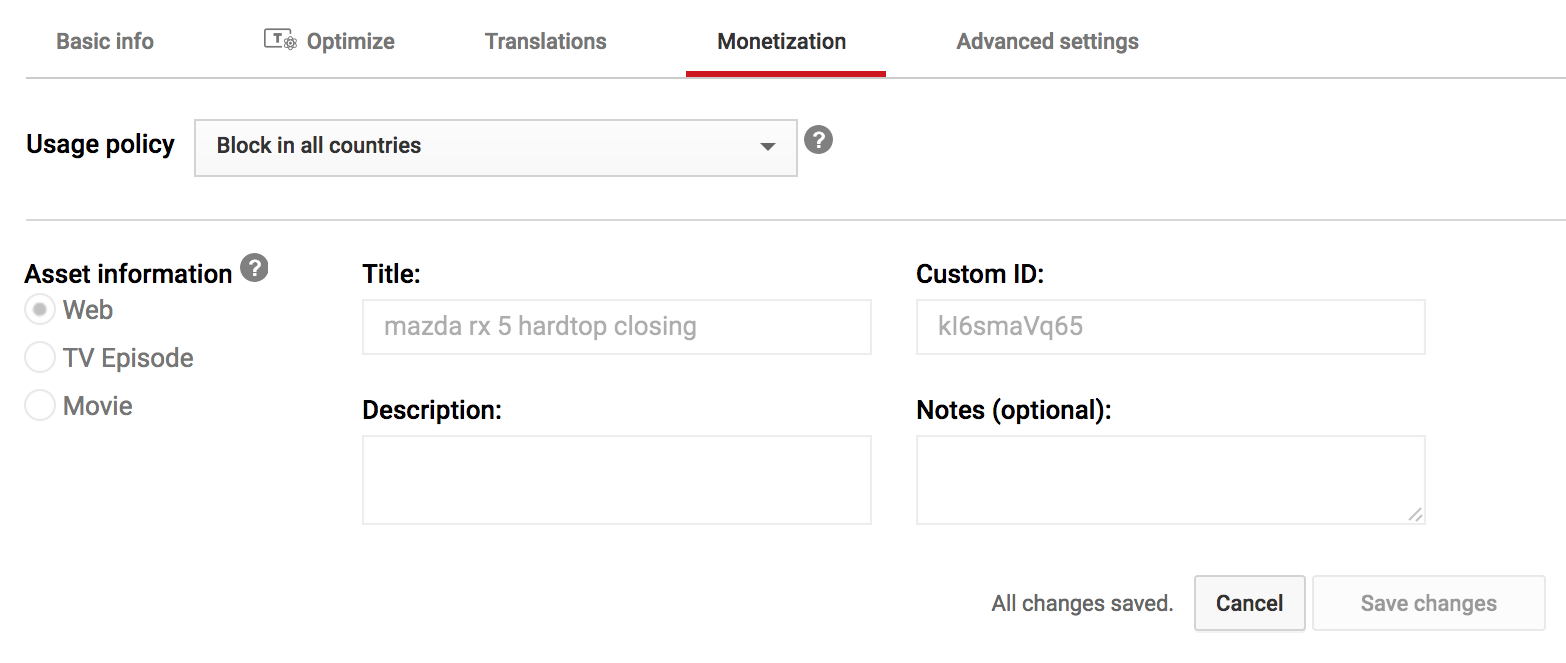 youtube video manager - monetization