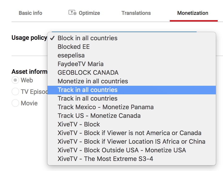 youtube monetization policy options