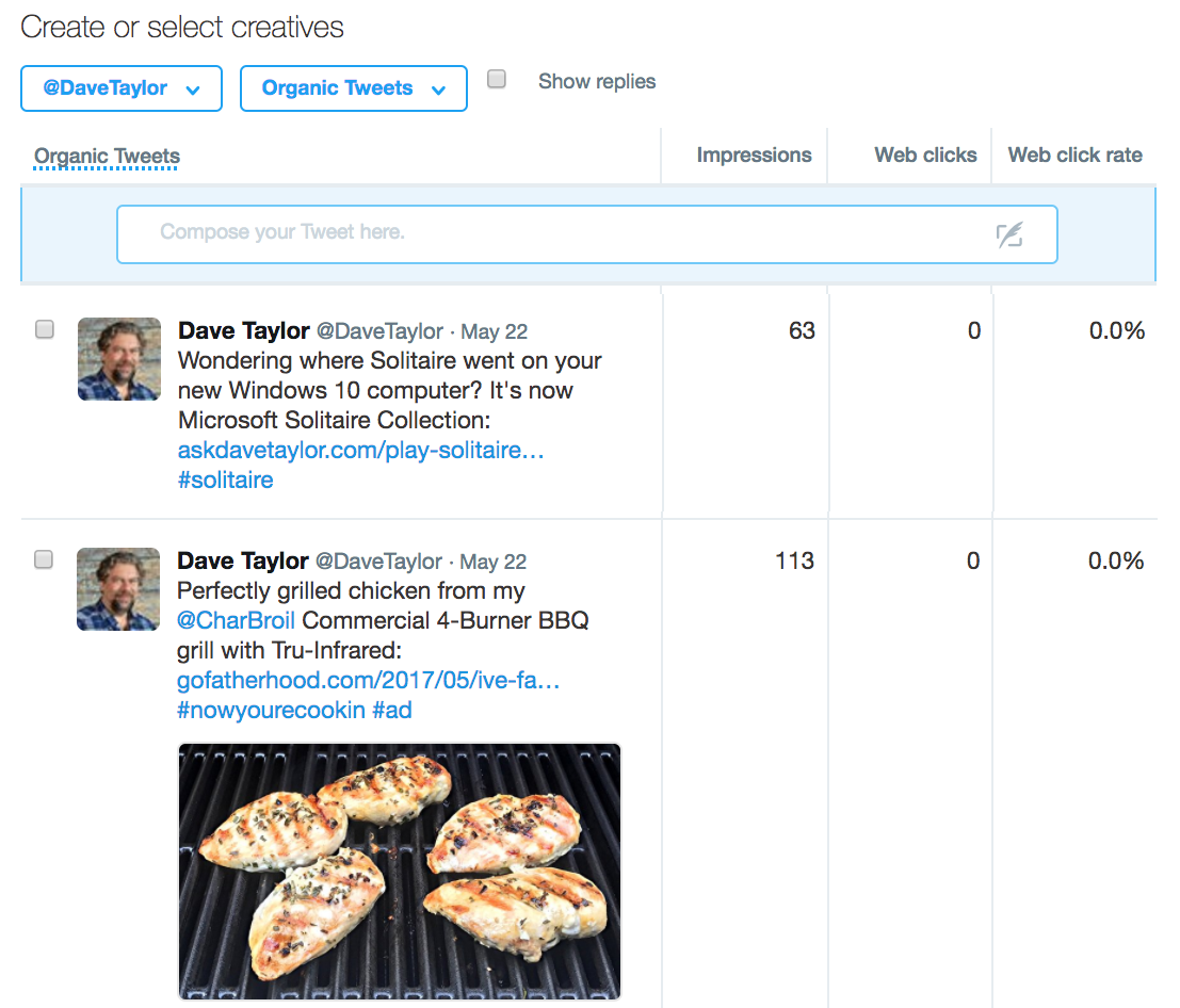 choose tweets from your twitter stream for advertising ad sponsored