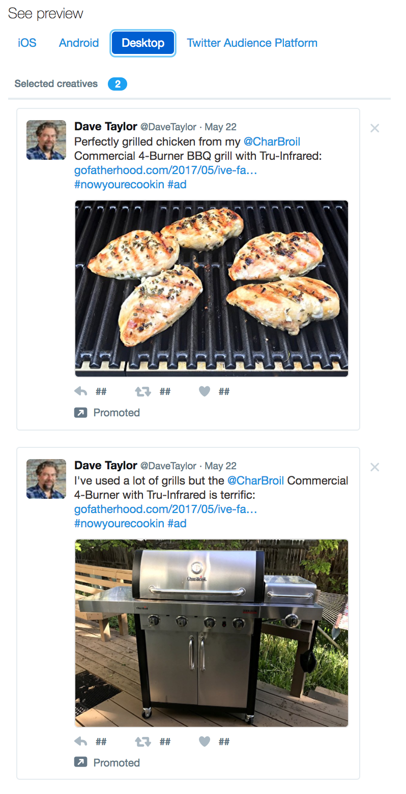 twitter ad ready to launch, two tweets selected