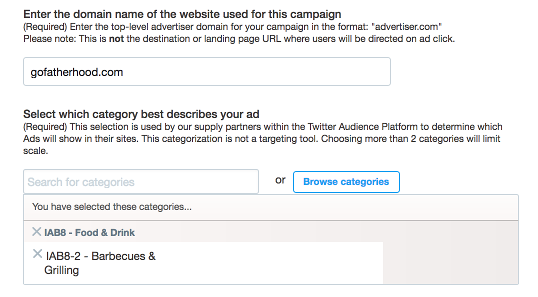 specify iab category, twitter ad
