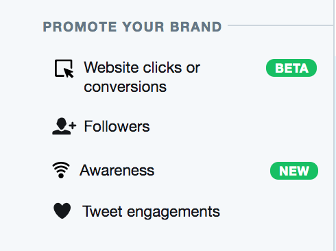 type of twitter ad campaign