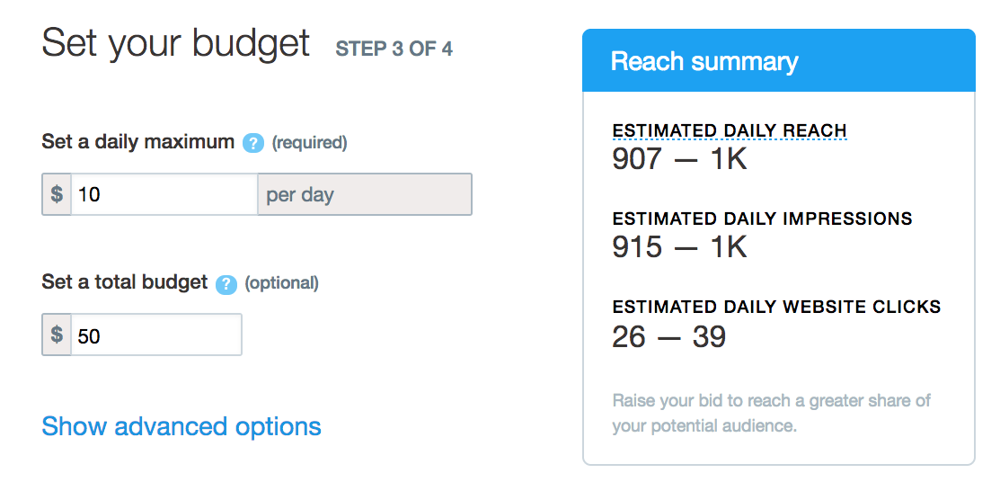 twitter ad, specify budget