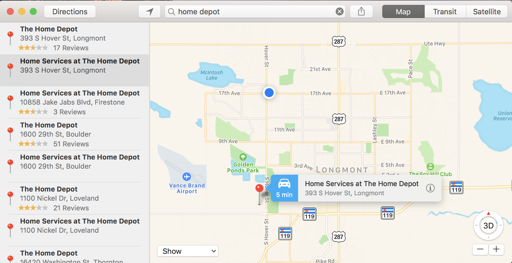 directions home from my location find nearby stores with apple maps ask dave 30617