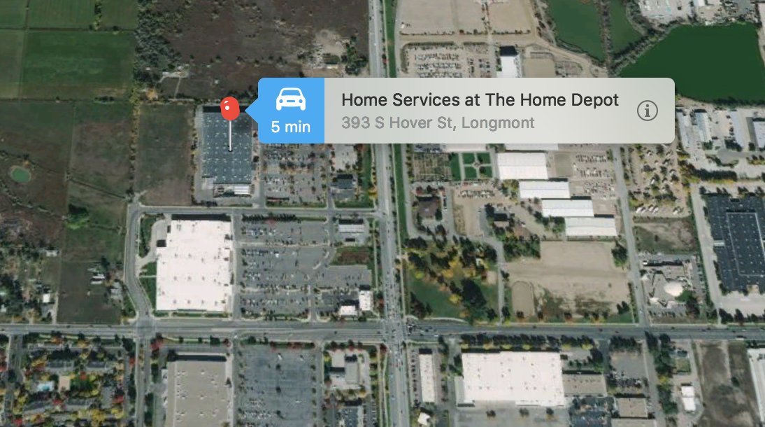 home depot, satellite view, apple maps