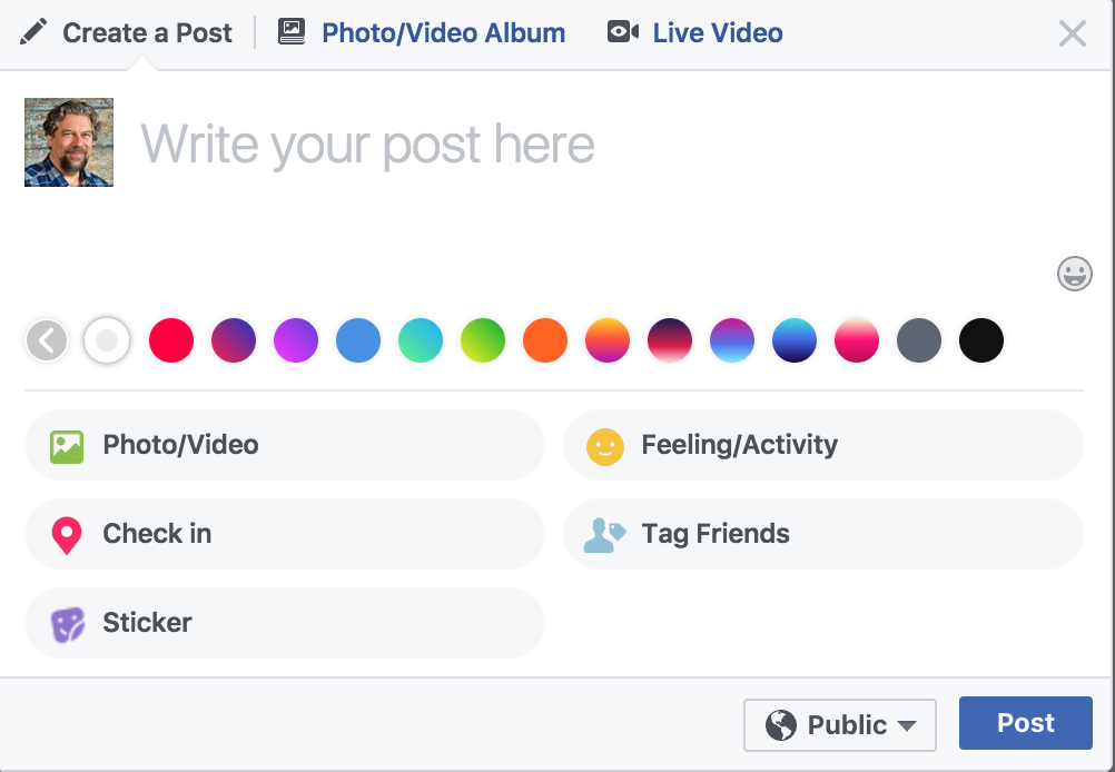 facebook status update with background colors