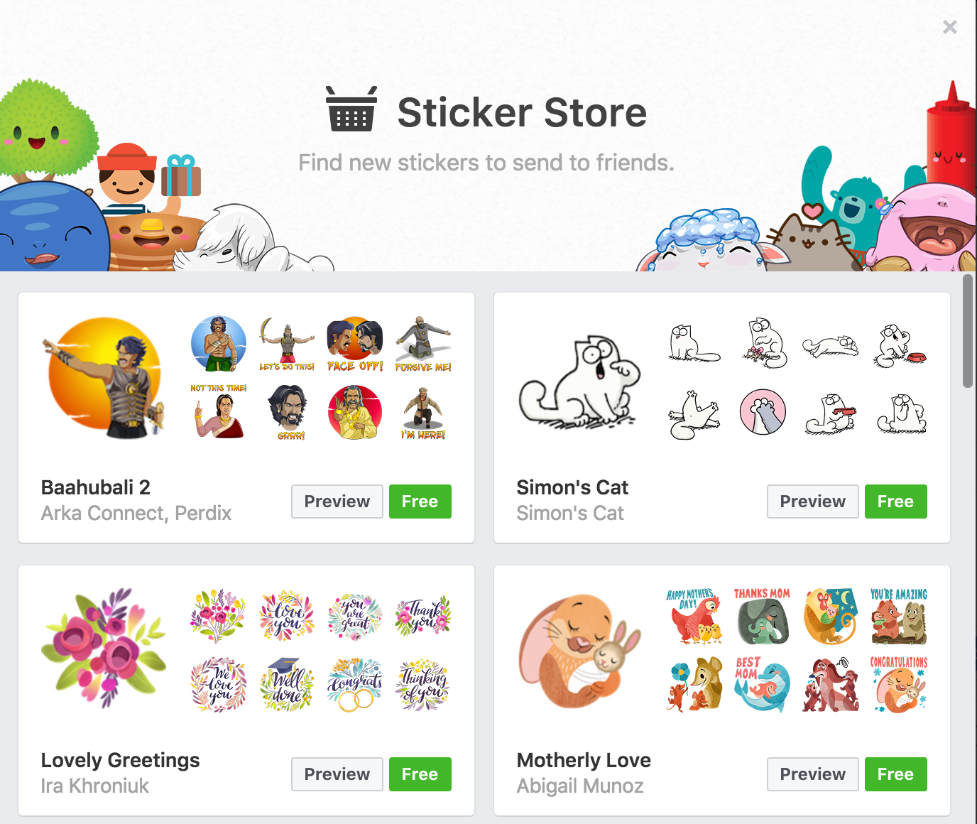 facebook sticker library