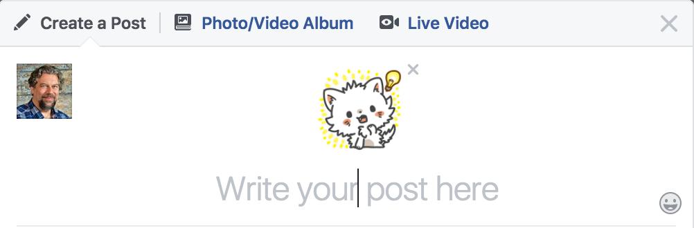facebook status update with sticker
