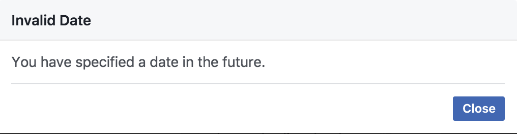 can't schedule in the future error, facebook