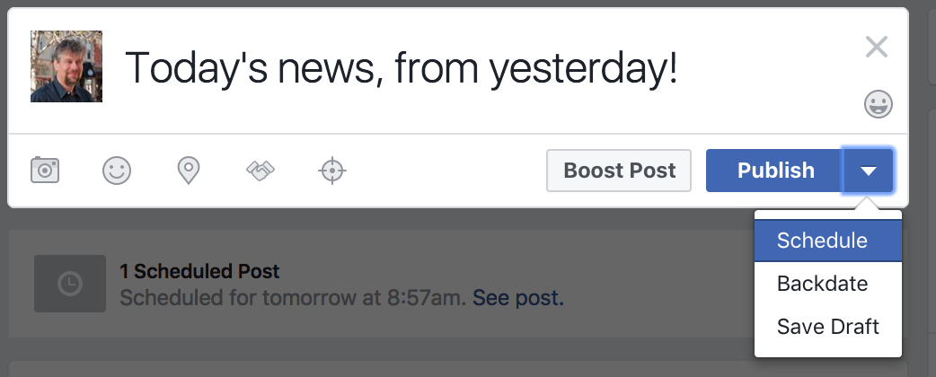 facebook business page status update in the future scheduled