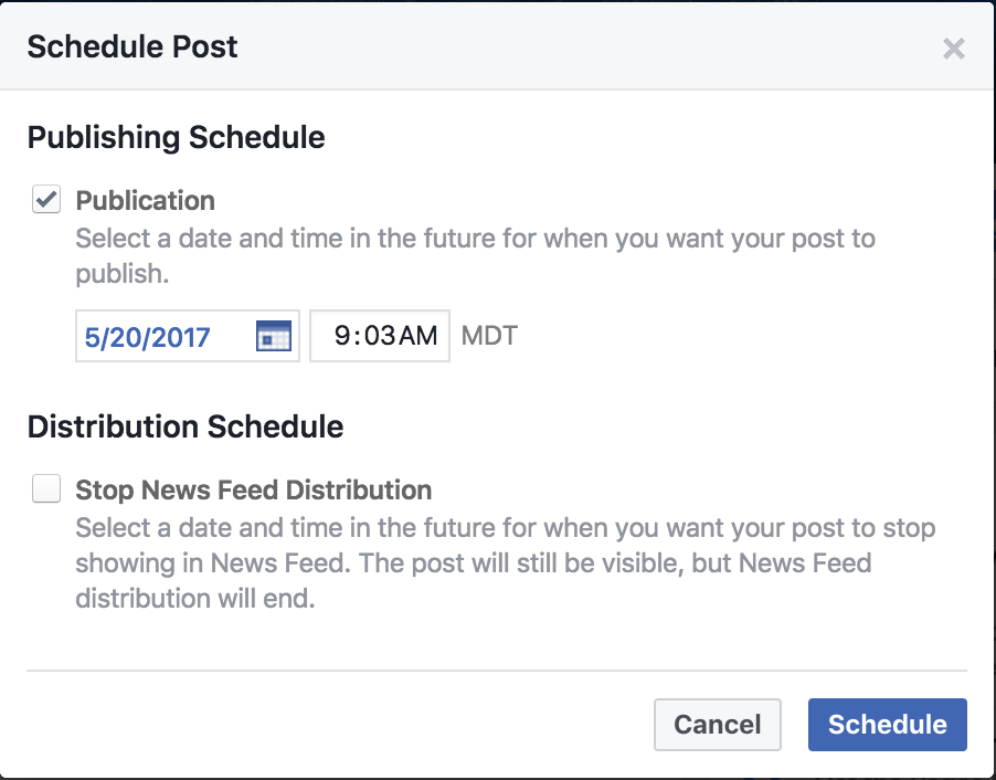 schedule facebook update in the future