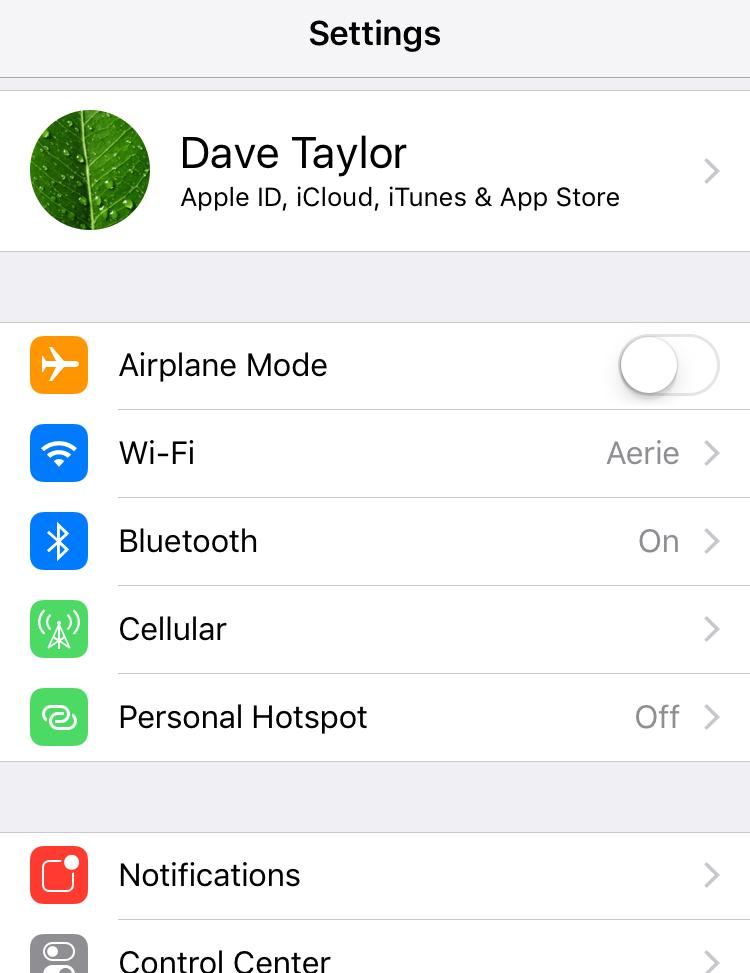 iphone ios settings main screen