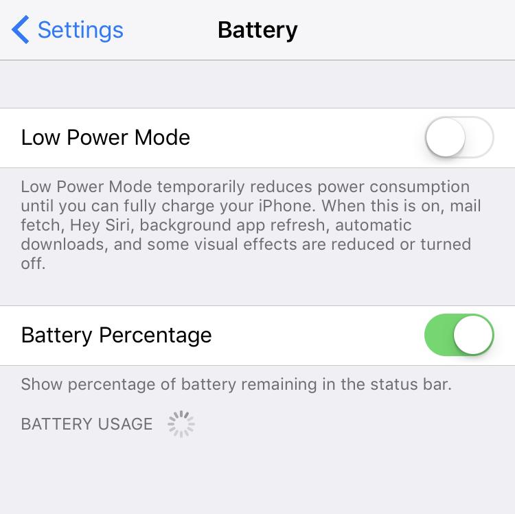 ios iphone battery settings