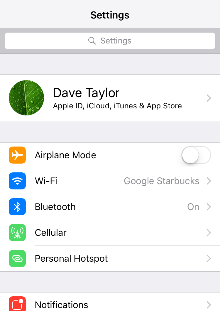 iphone ios settings preferences with search box