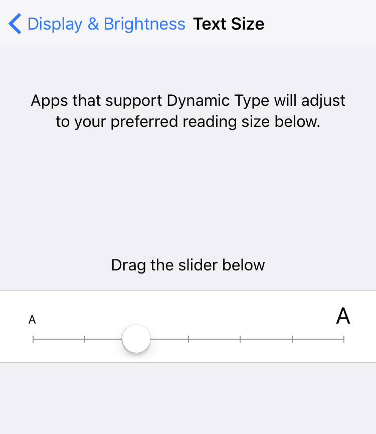 text size setting, ios 10