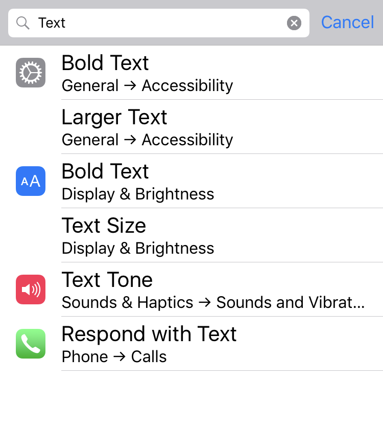 ios settings search results