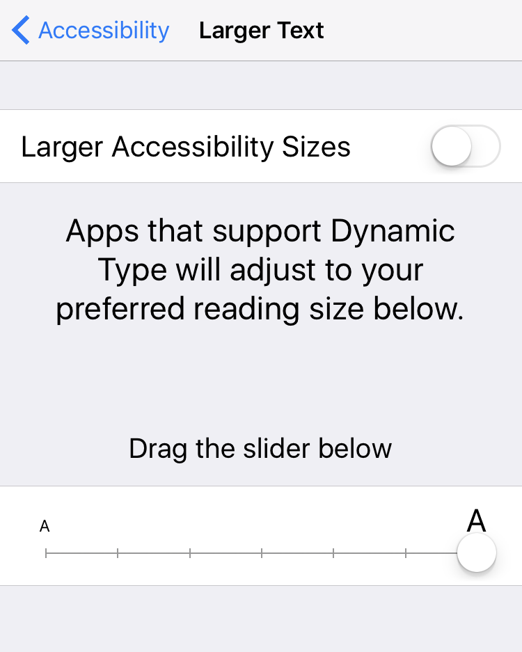 larger accessibility sizes for text, ios 10
