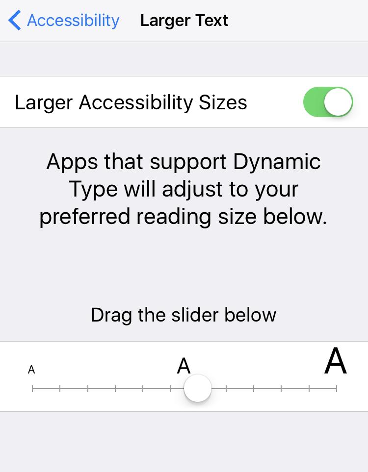 set accessibility visual impairment text size iphone ipad ios