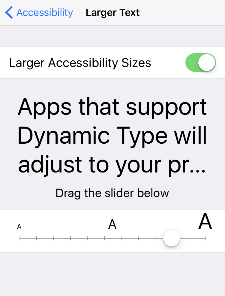 really large type text size accessibility setting iphone ipad ios