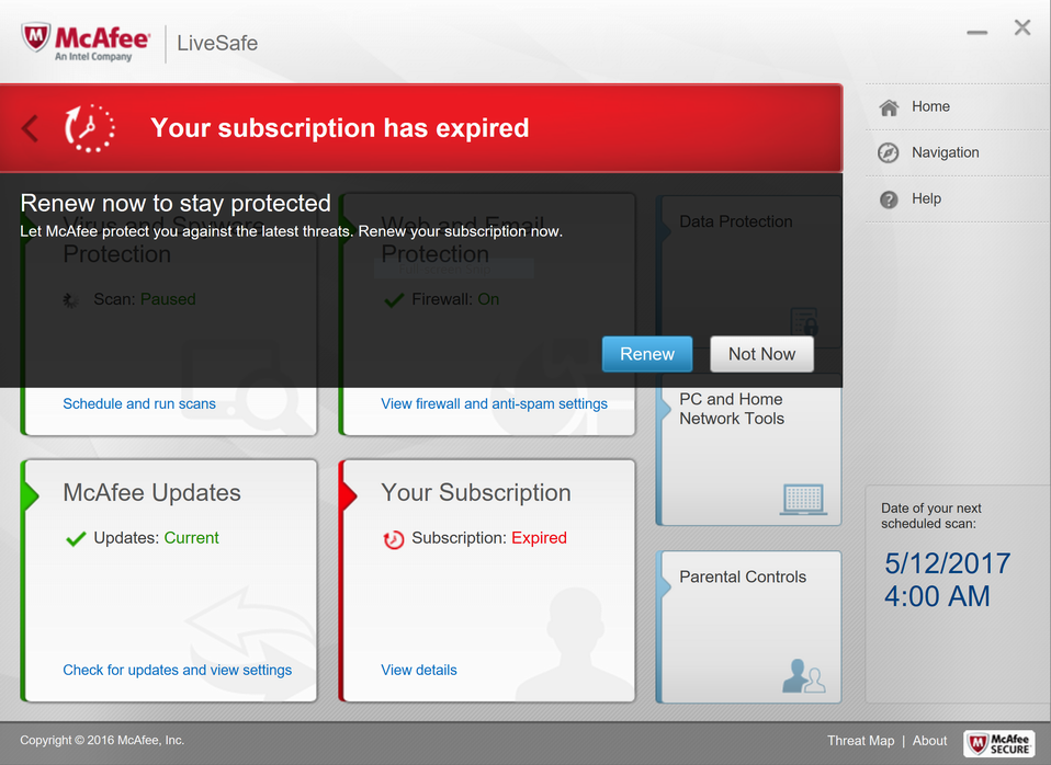 mcafee with expired subscription