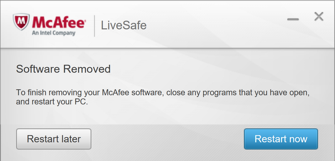 mcafee uninstall software removed