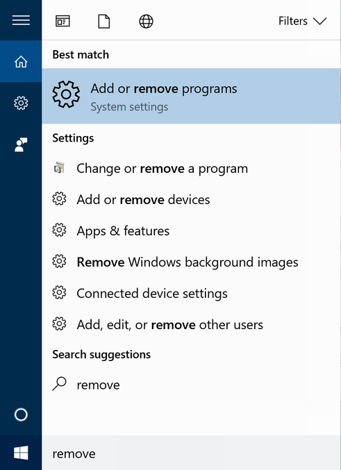 windows 10 search remove program