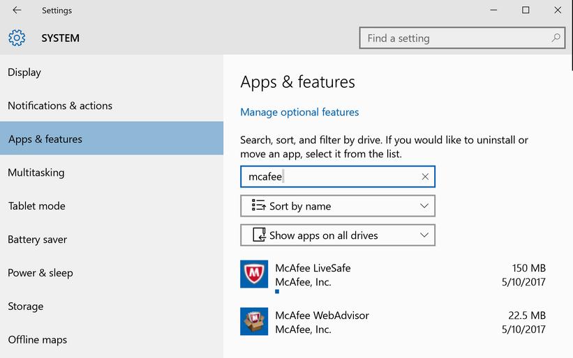 win10 system settings add/remove program