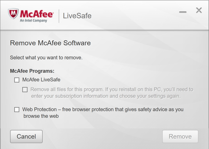 what mcafee software to remove?