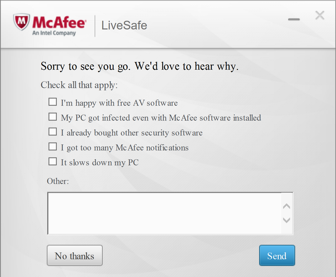 why are you quitting mcafee?