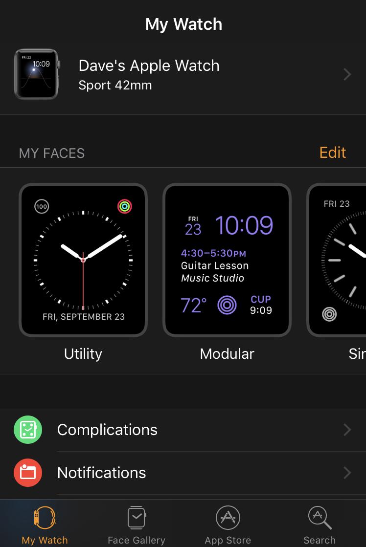 apple watch ios app home screen