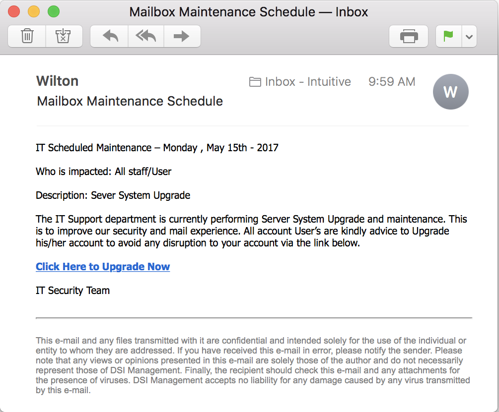 "phishing email ""mailbox maintenance schedule"""