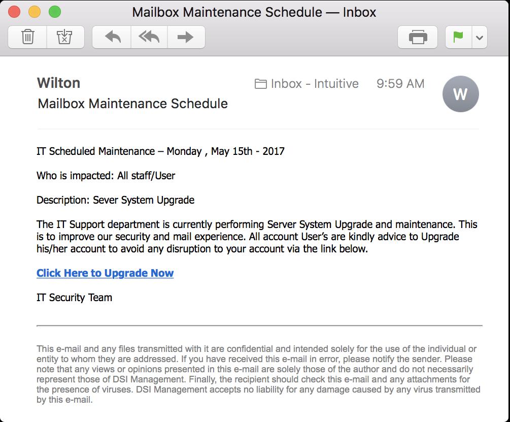 """phishing email """"mailbox maintenance schedule"""""""