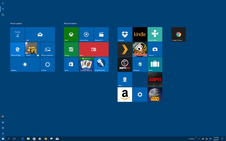 microsoft windows 10 win10 full screen start menu screen