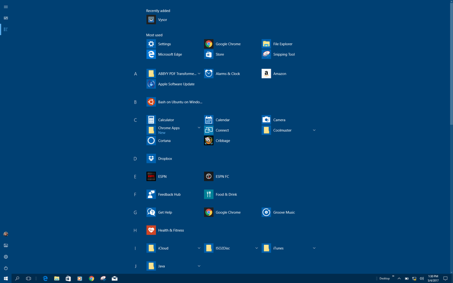 win10 showing all apps programs