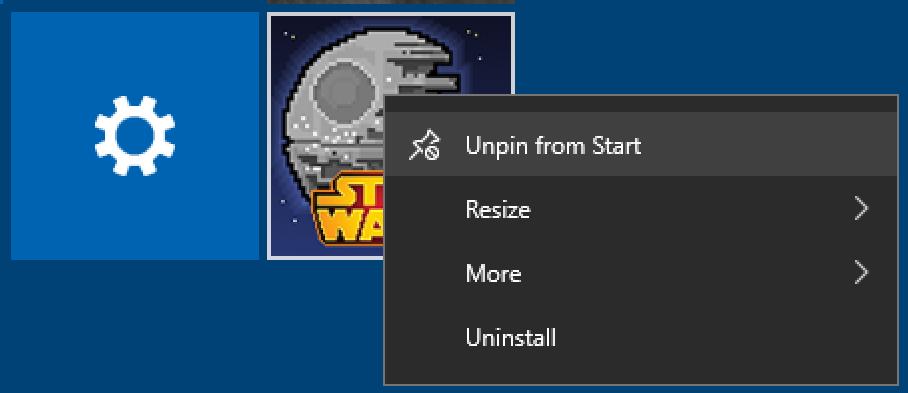 remove start tile - unpin from start - win10