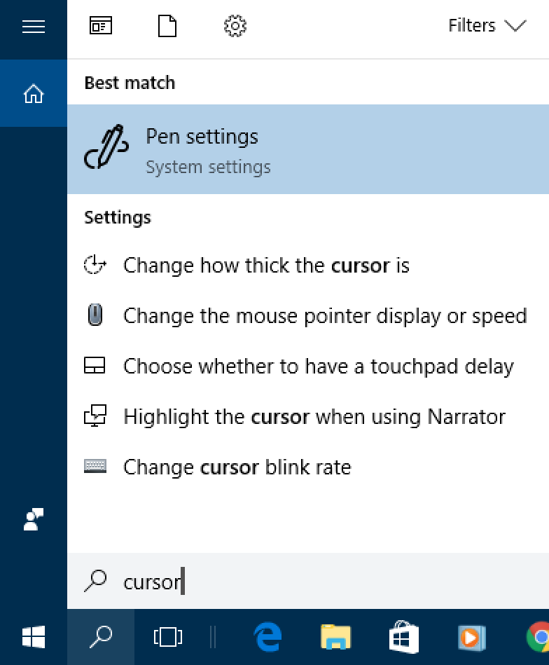 win10 search 'cursor'