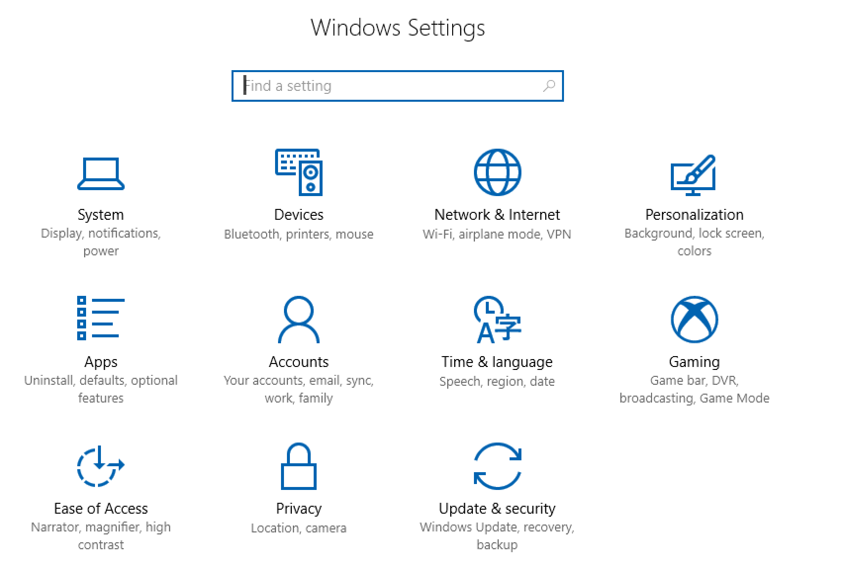 windows 10 win10 system preferences control settings panel