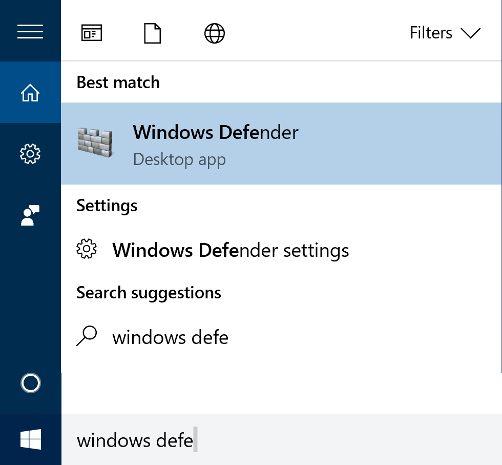 windows 10 win10 search 'windows defender'