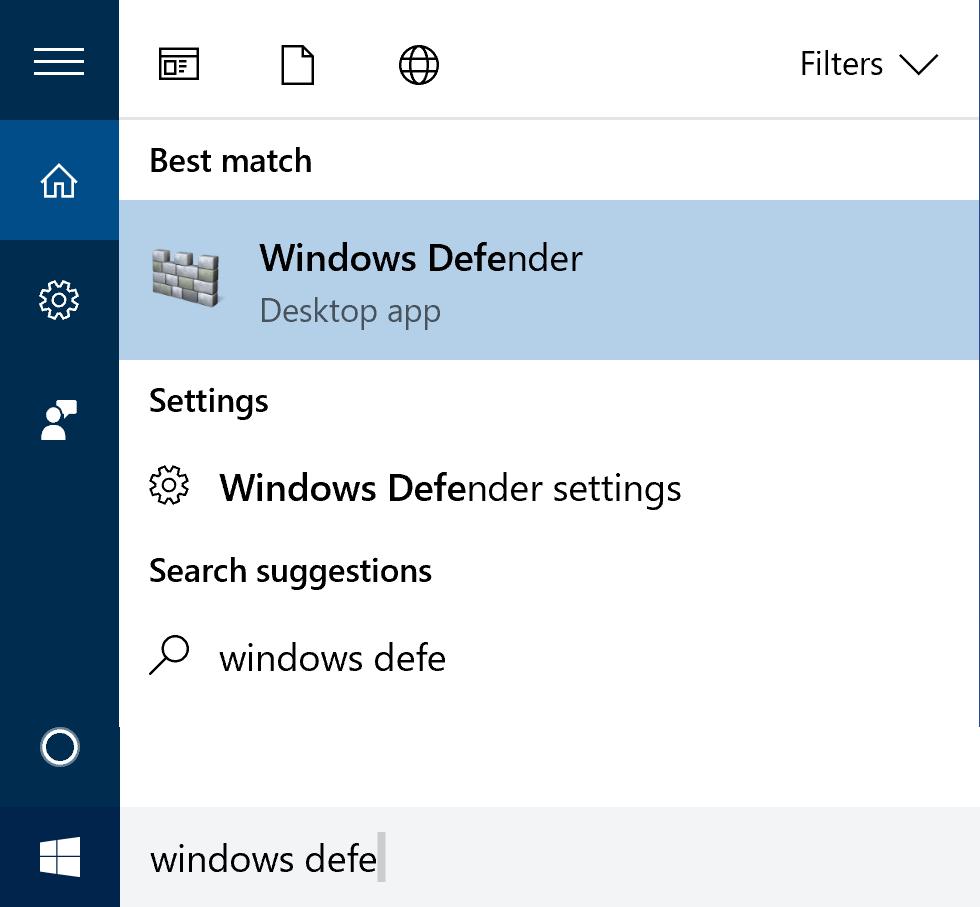 windows 10 win10 search 'windows defender'