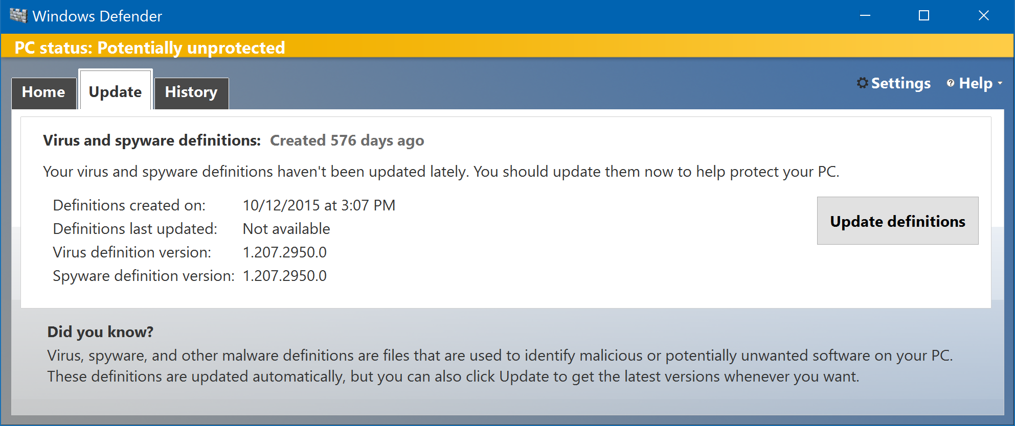 update virus definitions: windows defender