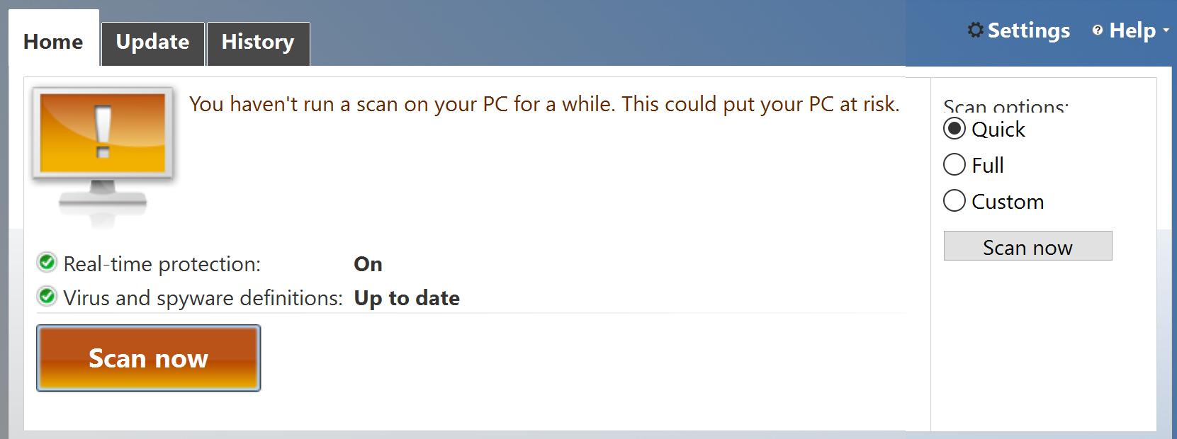 start windows defender spyware virus scan