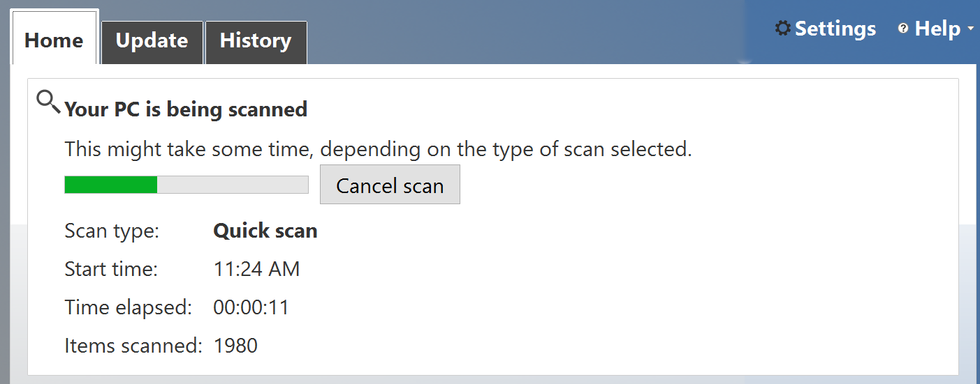 win10 windows defender running quick scan