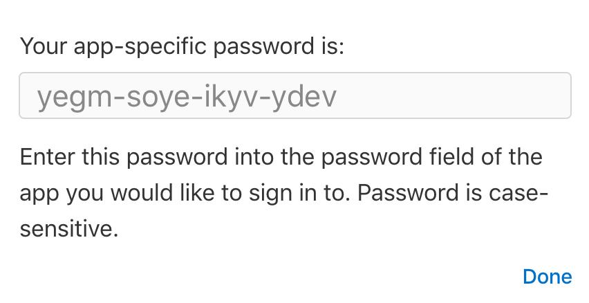icloud app specific password
