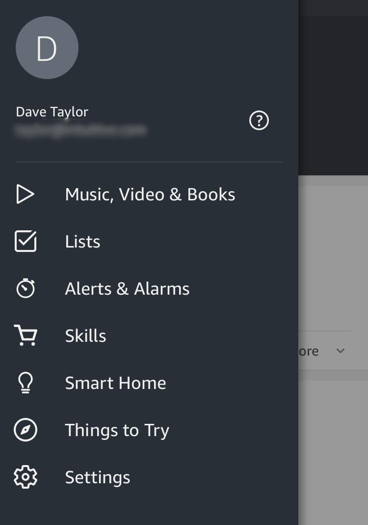 main setup menu, alexa app