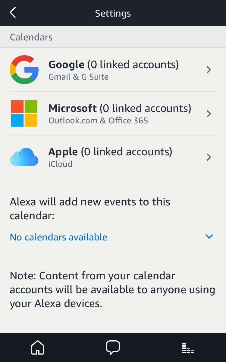 alexa calendar settings icloud google microsoft